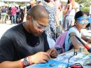Visitors to the World Maker Faire in New York had a chance to build a small Morse code practice oscillator.